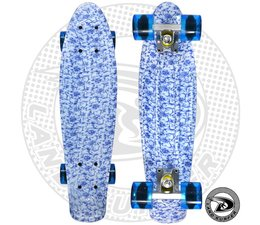 "Land Surfer fish skateboard ""china"" met transparant blauwe wielen"