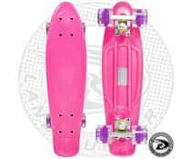 Land Surfer skateboard pink with transparent purple wheels