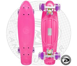 Land Surfer skateboard pink with transparent purple wheels