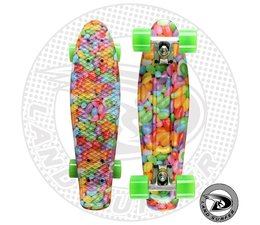 "Land Surfer skateboard ""candy"" with green wheels"