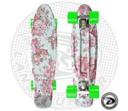 "Land Surfer skateboard ""flower"" with green wheels"