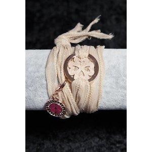 Linten armband beige