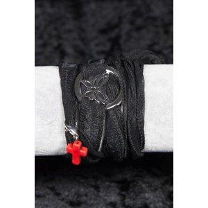 Linten armband zwart