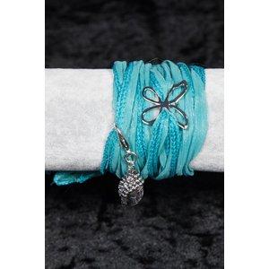 Linten armband blauw