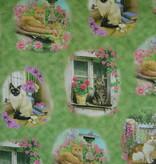 Stoff Katzen auf grünem Hintergrund