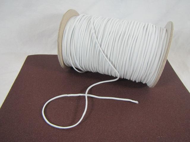 Weisse, runde Gummikordel, 2,5mm