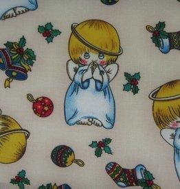 """Stoff """"Weihnachtsengel mit Ornamenten"""""""