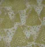Tannenbäume im Sternendruck gold auf creme