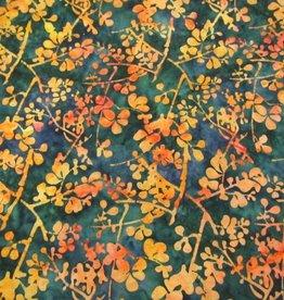 "Stoff ""Batik orange-rote Blüten auf blau"""