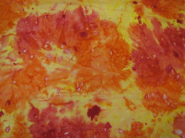Indonesischer Batikstoff gelb orange pink