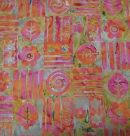 "Stoff ""Batik Phantasiemuster pink-orange"""