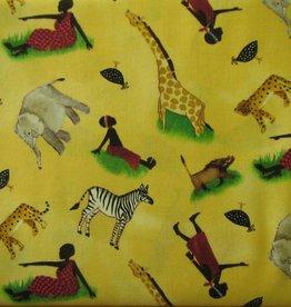 """Stoffe """"Afrikanische Menschen und Tiere"""""""
