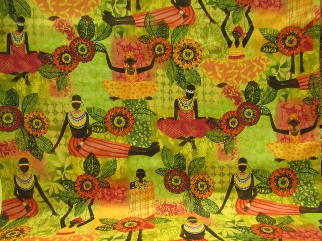 Stoff afrikanische Frauen auf grün