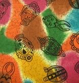Stoff afrikanische Masken auf bunt