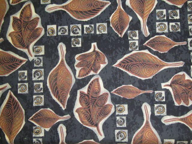 Stoff braune Blätter auf schwarz