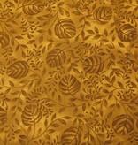 Patchworkstoff braune Blätter auf braun
