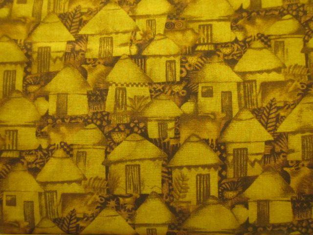 Stoff afrikanische Häuser in ocker