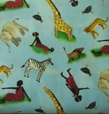 Stoffe afrikanische Menschen und Tiere, verschiedene Farben