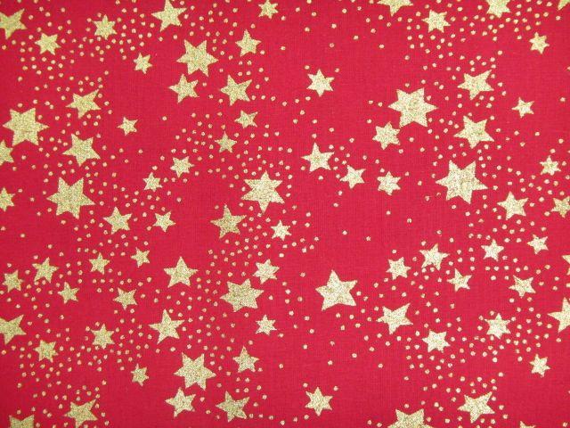 Stoff Weihnachten goldene Sterne und Punkte auf rot, Varianten
