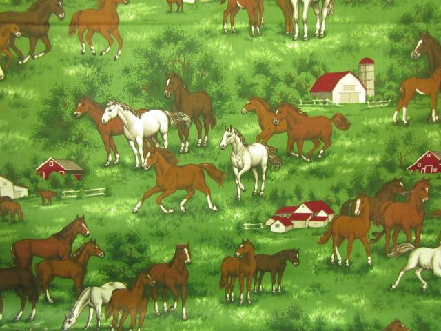 Stoff Pferde auf der Koppel