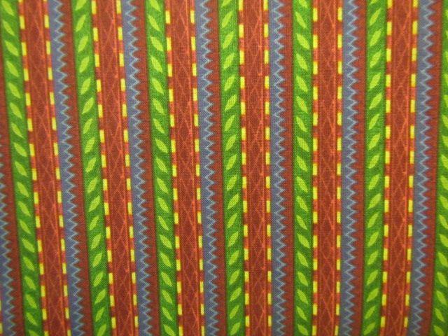 Stoff schmale Streifen in gelb, grün, blau und braun