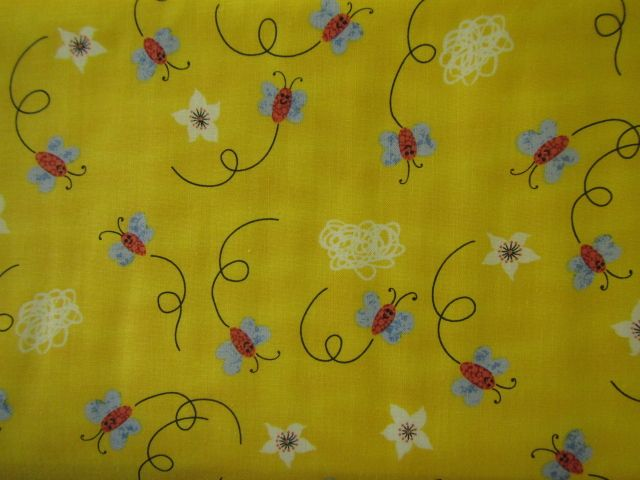 Stoff Schmetterlinge und Blumen auf gelb