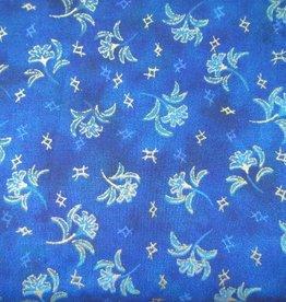 """Stoff """"Goldgerandete Blumen blau"""""""