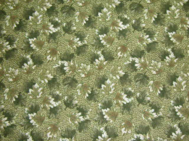 Stoff Laub in Grüntönen auf grün