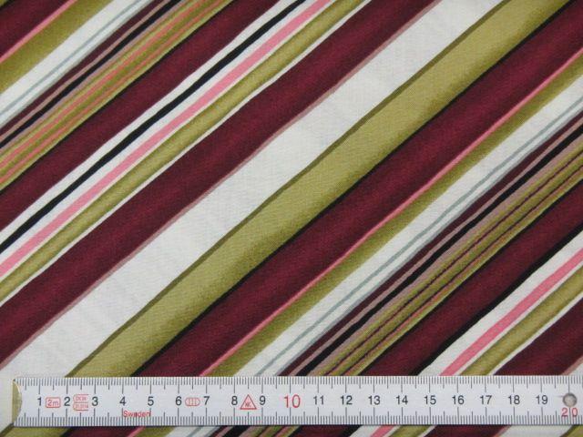 Patchworkstoff diagonale Streifen in oliv, violett, weiß
