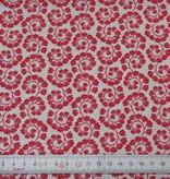Patchworkstoff rot-rosa Blumenranken