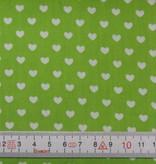 Patchworkstoff weiße Herzen auf grün