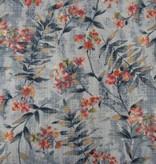 Patchworkstoff Blätter und Blumen auf eisblau