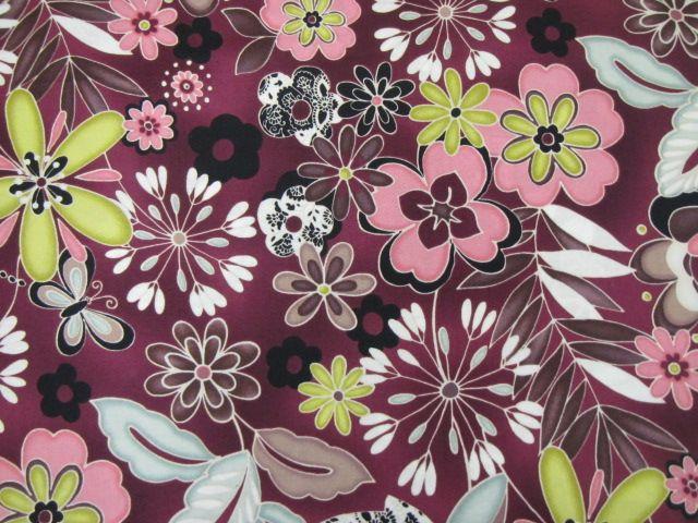 Patchworkstoff Blumengarten verschiedene Farbvarianten
