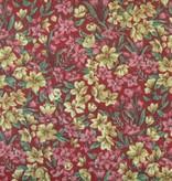 Patchworkstoff ockerfarbene und rosa Blümchen auf rot