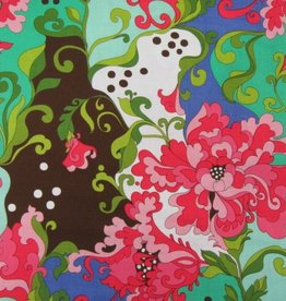 """Stoff """"Rosa Chrysanthemen mintgrün"""""""