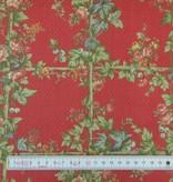 Patchworkstoff Rosenspalier auf rot