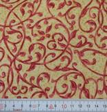 Patchworkstoff rote Arabesken auf gelb-ocker