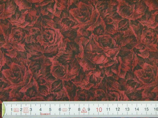Pachworkstoff rot-schwarze Rosen