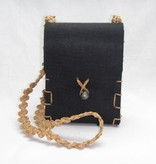 Filztasche schwarz mit Perlenschnüren