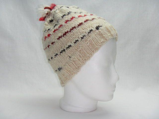 Schafwollmütze rote und graue Streifen