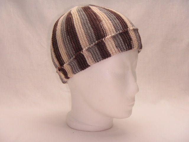Mütze grau braun wollweiß