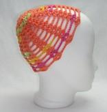 Sommermütze orange pink-gelb-grüne Streifen