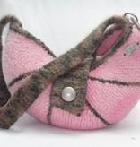 Tasche Strickfilz rosa braun