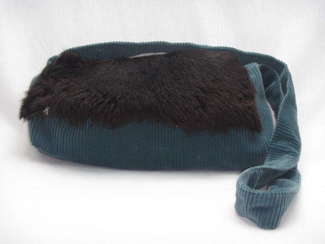 Handtasche Cord blau schwarz