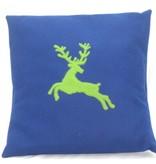 Kissen Hirsch blau grün