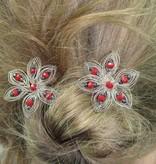 Haarnadel Silberdraht Perlen rot anthrazit