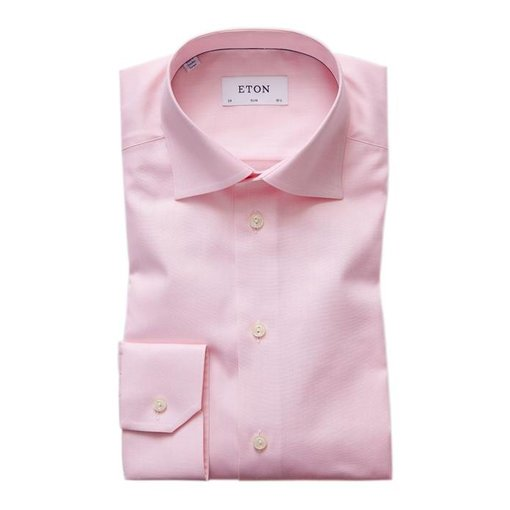 Eton Pink Herringbone Twill Shirt