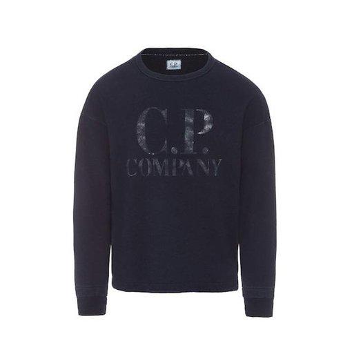 CP Company Washed Indigo Fleece C.P. Big Logo Crew Neck Sweatshirt
