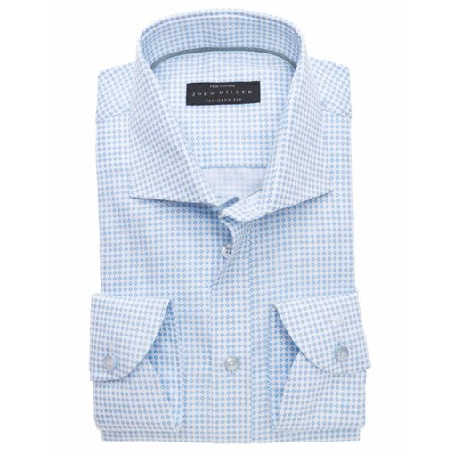 John Miller l. blauw dessin dress-shirt
