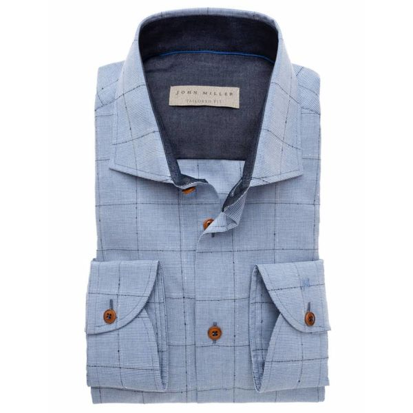 ruit l. blauw dress-shirt